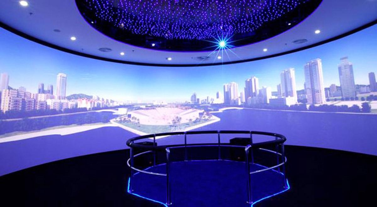 高平安全体验360°环幕影院数字媒体展厅